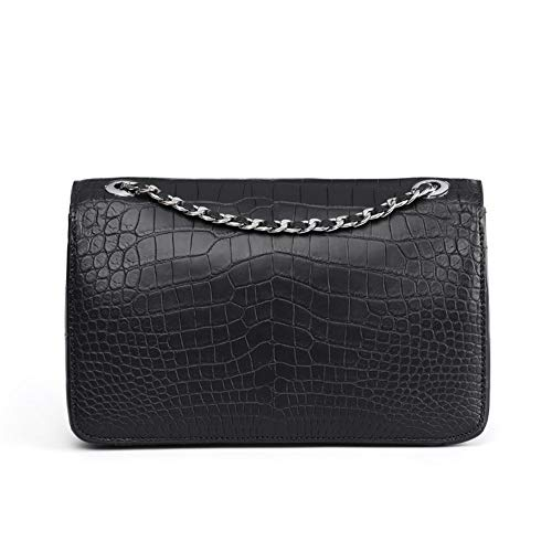 ZYL Crocodile Leather Bag Crocodile Belly Shoulder Bag Ladies Messenger Bag (Color : Black)