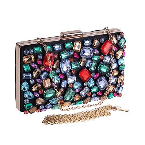 Nwn Colorful Diamond Evening Bag Clutch Bag Evening Dress one Shoulder Fashion Banquet Bag Party Handbag 20x4x12cm