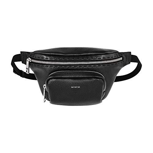 Fendi FF Stamp Men's Small Black Leather Belt Bag 7VA446 A5K4 F0GXN