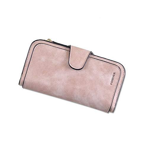 Xennos Wallets – New Brand Leather Women Wallet Design Hasp Card Bags Long Female Purse 6 Colors Ladies Clutch Wallet – (Color: Pink)