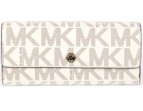Michael Kors Jet Set Travel Vanilla Signature Large Gusset Carryall Wallet