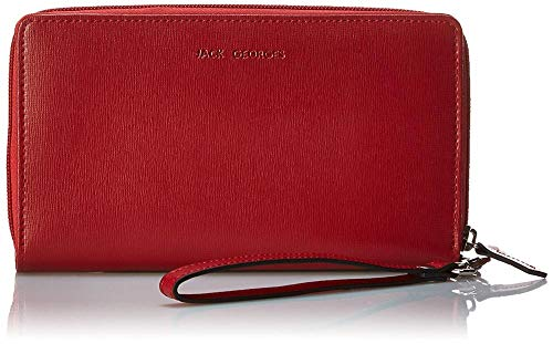 Jack Georges Chelsea Collection Large Zip Clutch Wristlet Wallet in Red