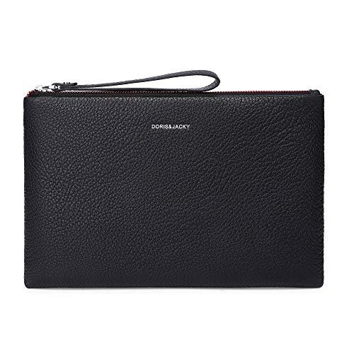Mens Clutch Bags Leather Black Large Business Organizer Travel Wristlet Wallet