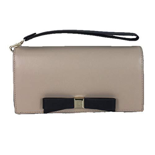 Kate Spade Linney Leather Bow Wristlet Wallet, Warm Beige/Black