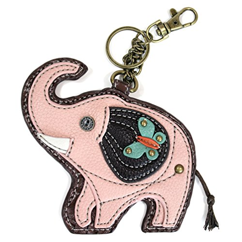 Chala Coin Purse / Detachable Key-chain – Pink Elephant in faux leather-