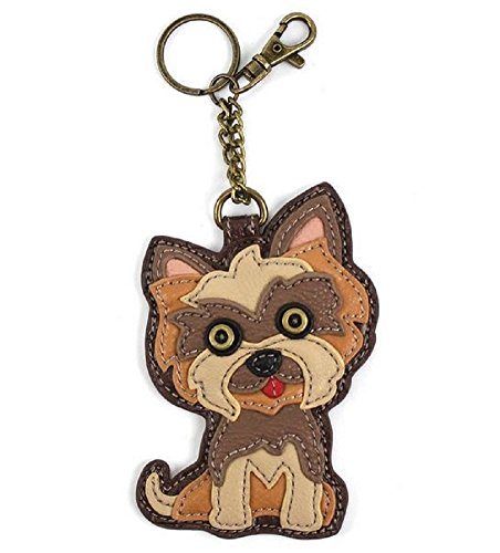 """Chala Key Fob/Coin Purse """"Yorkshire Terrier"""" Brown"""