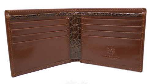 Men's Designer Leather Bifold Wallet with Genuine French Calf and Alligator in Chocolate by John Allen Woodward