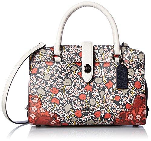 COACH Womens Multi Floral Mercer 24 Satchel DK/Chalk Yankee Floral Handbag