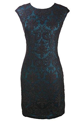 Vince Camuto Textured Jewelneck Dress Teal Black Size 8