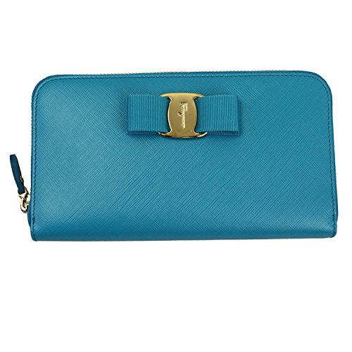 Ferragamo Women's Vara Blue Leather Zip Around Long Wallet Clutch 22c701
