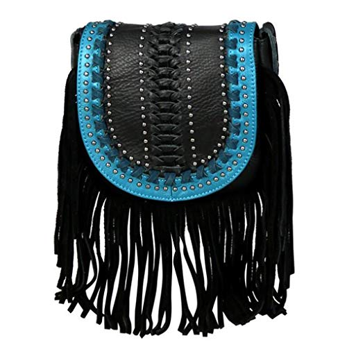 Montana West Genuine Leather Handcrafted Crossbody Handbag Purse Light Bundle (Black Flap w Tussle)
