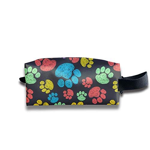Colorful Dog Footprint-2 Canvas Makeup Bag Pouch Purse Handbag Organizer with Zipper