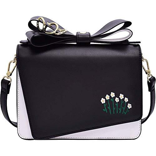 YHLZ Ladies Shoulder Bag, Shoulder Bag – PU/Polyester Cotton, Classic Contrast Trend Women's Bag Simple Casual Messenger Bag Embroidered Shoulder Square Bag – 22X9X16cm
