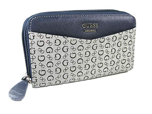 New Guess G Logo Double Zip Around Wallet Purse Hand Bag Navy Blue Silver