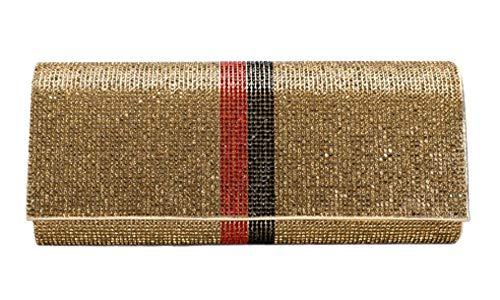 Gold Color Block Crystal Evening Clutch Handbag, 9.5″ X 2.25″ X 4″.