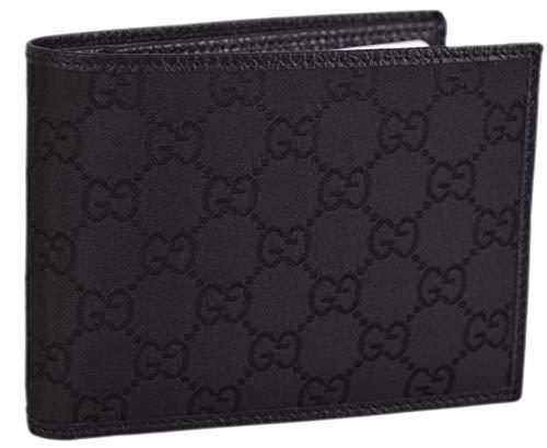 Gucci Men's GG Logo Canvas Web Black Bi-fold Wallet 278596