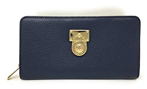 Michael Kors Hamilton Traveler Large Zip Around Leather Wallet (Navy)