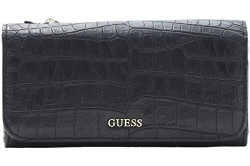 Guess Women's Frankee Large Black Crocodile Fold-Over Flap Organizer Wallet