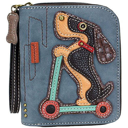 Chala Group Weinder Dog on Scooter Zip-Around Wallet/Wristlet Dachshund, Indigo, 5″ x 6″ x 1″