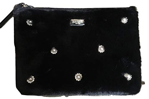 Kate Spade Gia Cedar Road Black Faux Fur Clutch Handbag