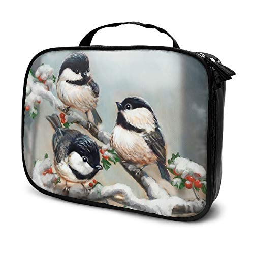 Little Birds on a Tree Canvas Makeup Bag Pouch Purse Handbag Organizer with Zipper