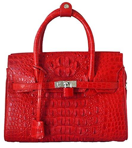 Authentic M Crocodile Skin Womens Hornback Locked Clutch Bag Purse Red Handbag