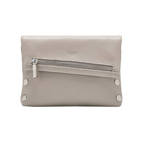 Hammitt Women's Small VIP Clutch with Haze Pebble Grey Leather and Silver Accents