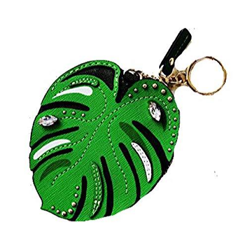 Michael Kors Palm Leaf Coin Purse Leather Jungle Green Zip Bag