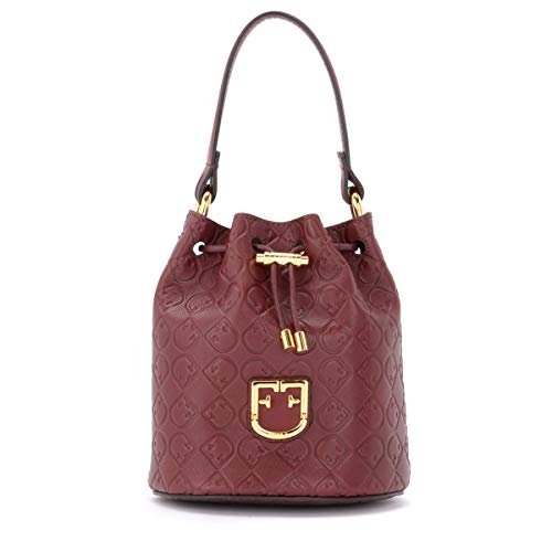 Furla Furla Corona Mini Bucket Bag In Textured Burgundy Leather Red