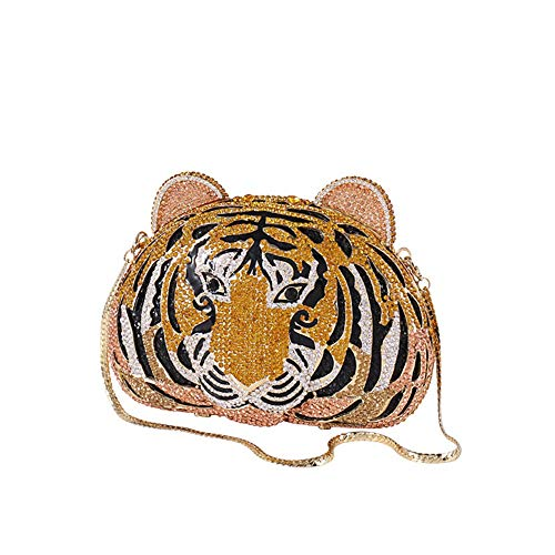 Nuanxingjiafang Handbag – Three-Dimensional Double-Sided Hand-Studded Tiger High-Grade Decorative Evening Bag, Party and Other Handbag Shoulder Bag, 18713.5cm Fashion