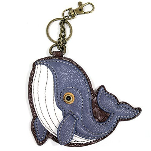 """Chala Key Fob and Coin Purse """"Whale"""", Blue Gray"""