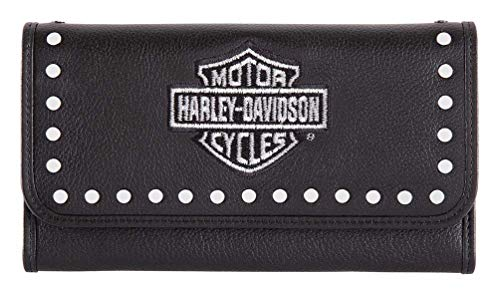 Harley-Davidson Women's Embroidery Studded Traditional Leather Wallet HDWWA11462