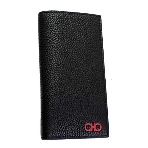 Saslvatore Ferragamo Gancini Men's Black Leather Bi-fold Long Wallet 66A074