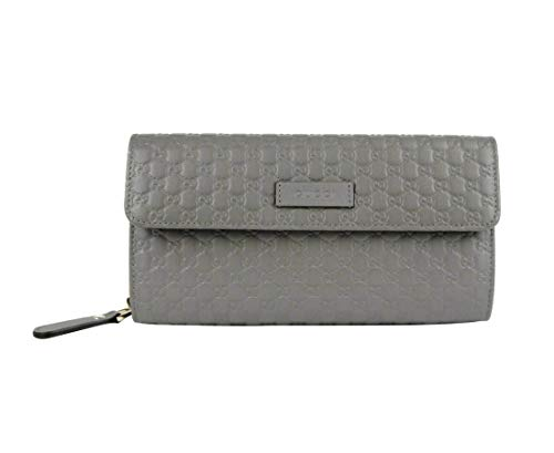 Gucci Women's Graphite Gray Leather Microguccissima Continental Zip Wallet 449364 1226