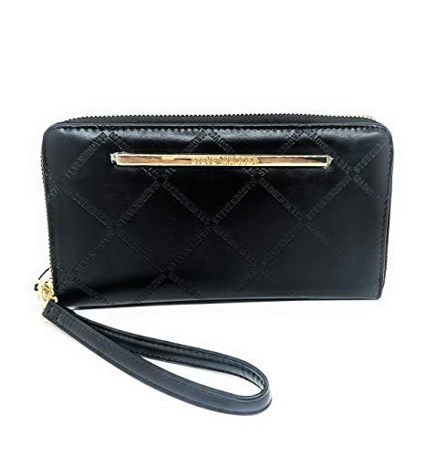 Steve Madden BZIP-EM Logo Distressed Wallet/Wristlet (Black)