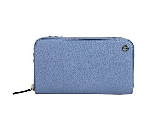 Gucci Women's Mineral Blue Leather Gold Interlocking G Zip Around Wallet 449347 4503