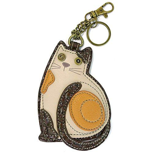 Chala Key Fob/Coin Purse – LaZzy Cat, White & Brown