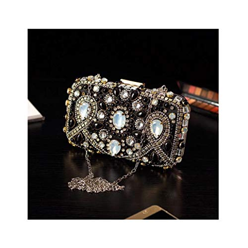 Nwn Handbag Banquet Dress Evening Bag, Rhinestone Clutch Bag Black 20x12x5cm