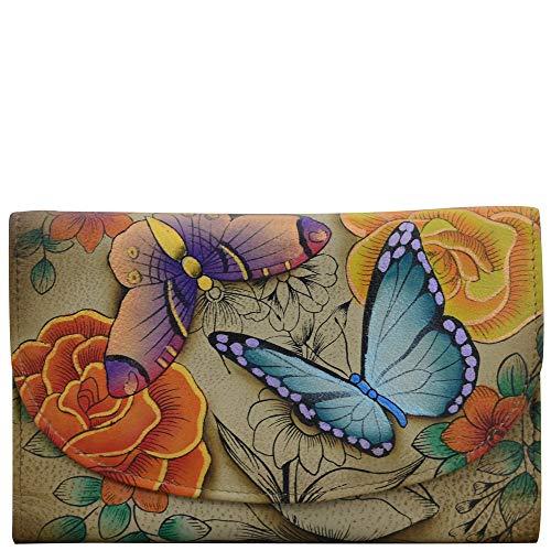 Anuschka Leather Anna Ladies Try Fold Wallet Clutch, ID, CC, Purse Light Key Fob Bundle (Floral Paradise Tan)