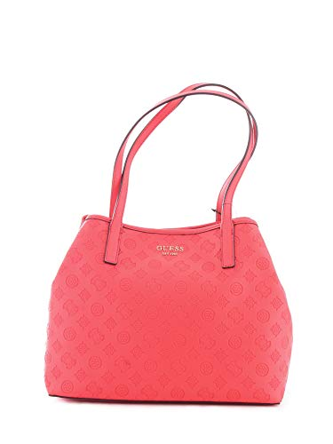 Borsa Guess shopping da donna in ecopelle logata di colore rosso con chiusura bottone magnetico, pochette interna e doppio manico. BIOSABORSE