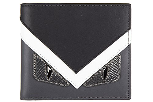 Fendi men's genuine leather wallet credit card bifold centuty elite occhi mostro