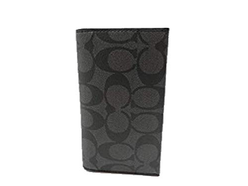 Coach Mens F63972 Signature Universal Phone Case Wallet Charcoal/black