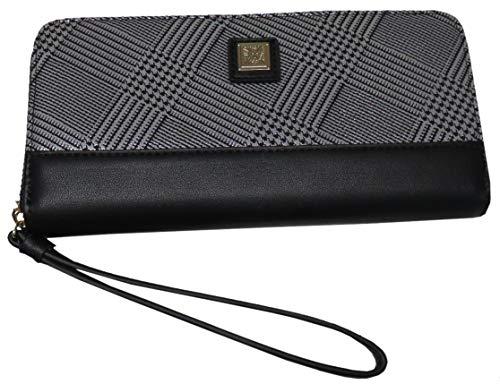 Anne Klein Women's Plaid Zip Around Wallet Silver/Black