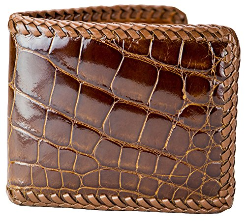 Hand Braided Cognac Alligator Wallet