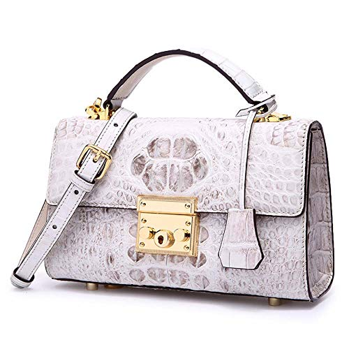 EEKUY Ladies Leather Shoulder Bag, Alligator Cross-Body Bag Zipper Clutch Handbag Suitable for Successful Women 9.06×3.15×5.91 Inch, Himalayan Color