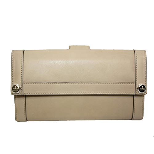 Gucci Leather Continental Flap Wallet 231839, Cream