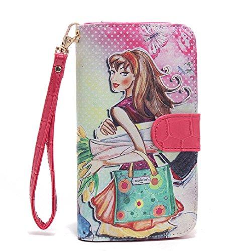 Nicole Lee Women's Bifold Wallet Wristlet Romanticist Design Tulip Girl
