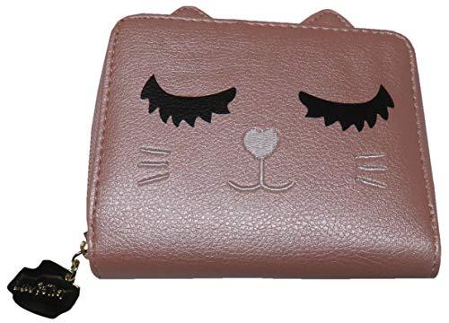 Betsey Johnson Luv Betsey Compact Zip Around Sassy Kitten Wallet Buff Pink