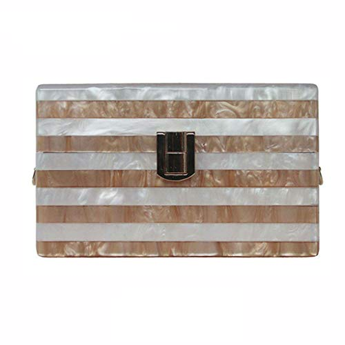 Striped Acrylic Clutch Patchwork Evening Bag Party Handbag Bridal Purse with Patchwork