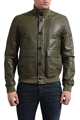 Valentino Men's Green 100% Leather Full Zip Jacket US M IT 50